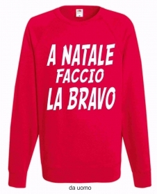 FELPA ROSSA FRUIT OF THE LOOM PER IL TUO NATALE: BRAVO E  BRAVA