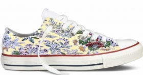 Sneakers in tela bianca UNISEX BASSA CON STAMPA - Flower