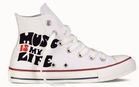 Sneakers in tela bianca MUSIC MY LIFE