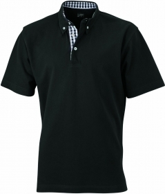 Men's Plain Polo 100% cotone pettinato piquet. Polo con rifinitura quadrettata