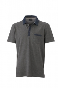 Men's Denim Polo Polo mélange 100% cotone piquet soffice.