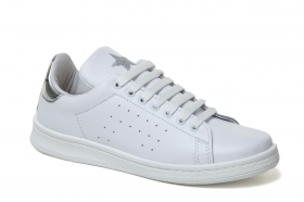 scarpe sneakers basse donna bianco pelle argento star light