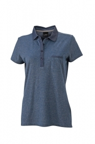 Women's Denim Polo Polo mélange 100% cotone piquet soffice.
