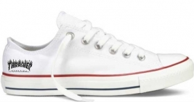 Sneakers in tela bianca UNISEX BASSA CON STAMPA THRASHER